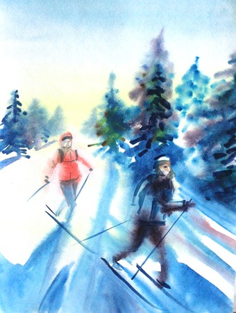 Watercolor drawing painting female and male on ski in winer snow forest. Sport ski nature concept. Stock Photo