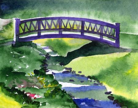 Sommerlandschaft mit Fluss und Brücke darüber Standard-Bild