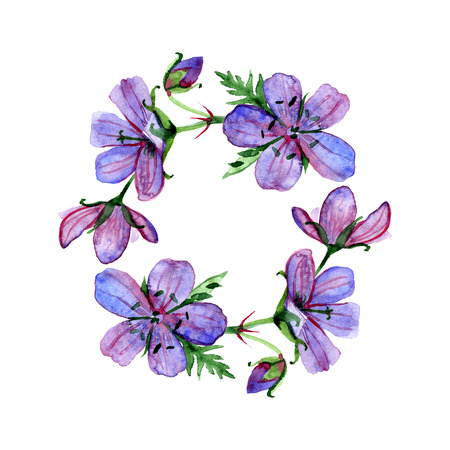 round frame with watercolor violet forest Geranium flowers and place for your text. Perfect for greetings, invitations, announcement, web design.