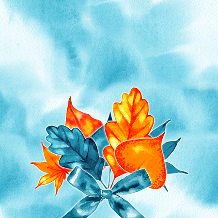 Golden autumn, leaves of bouquet, handmade painted, template object for you project, abstract design