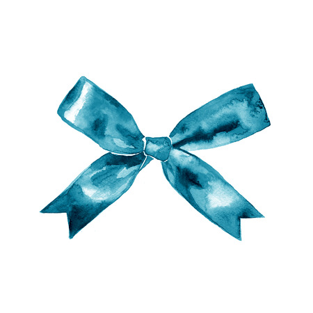 hands tied: Blue gift bow. Watercolor drawing. illustration set on white background Stock Photo