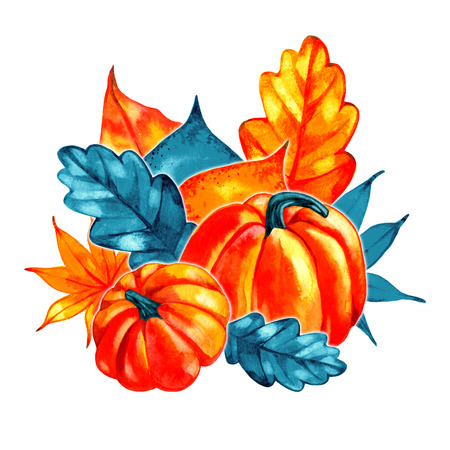 Watercolor composition with autumn leaves. Bouquet.