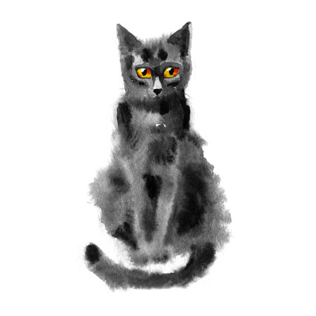 watercolor portrait of the black cat on white background Stock Photo