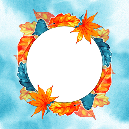 Orange watercolor autumn leaves wreath frame. Fall border. Stock Photo