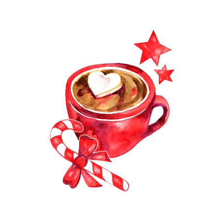 Winter hot drink, cacao with marshmallows. Cup of hot chocolate with marshmallows. Traditional beverage for winter time. Watercolor illustration.