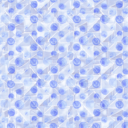 Seamless hand drawn watercolor pattern made of round blue dots, isolated on white.