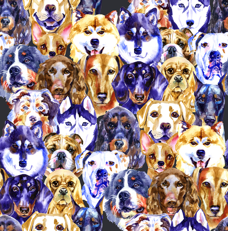 Watercolor illustration set of dogs, seamless pattern isolated on white