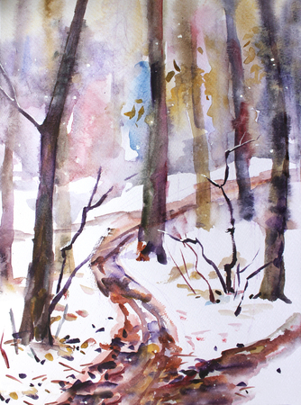 Watercolor landscape. In the forest, the first snow fell Banco de Imagens - 92880129