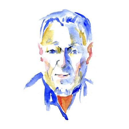 Old man portrait watercolor