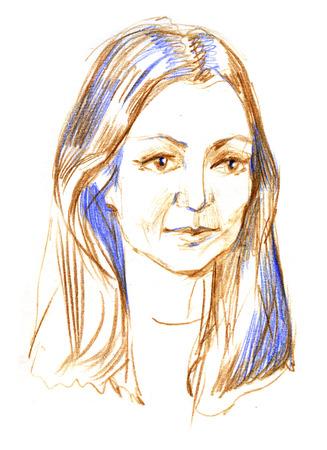 Pencil sketch of a woman s portrait. Stock Photo