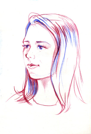 Drawing portrait of young woman. Female face. Sketch of beautiful girl.