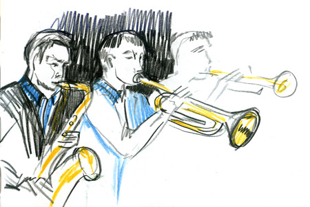 Sketch of the copper brass orchestra band musical instrument