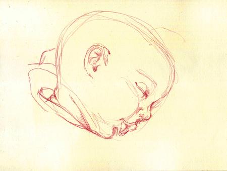 Carino disegno bambino che dorme. Illustrazione semplice. Archivio Fotografico - 92801010