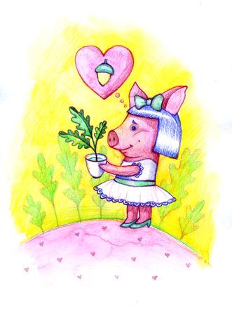 Mooie leuke illustratie met babyvarken, eiken bladeren en eikels. Fijne dag. Illustratie met waterverf weinig piggy.