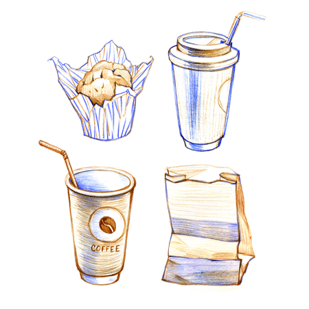 Sketch hand drawn image of cup with coffee, cupcake. Isolated on white background.