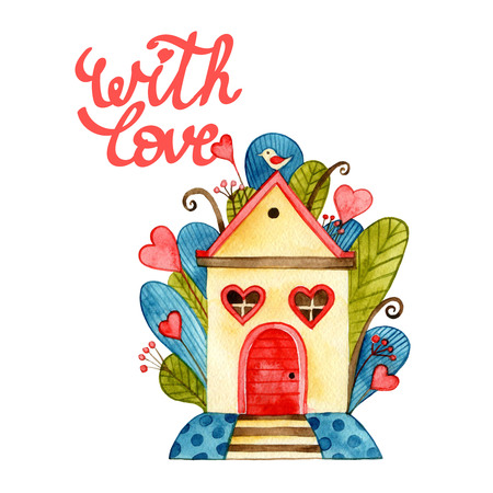 Greeting card with love theme heaving love birds, hanging wooden hut on tree branch, background for Valentine Day.