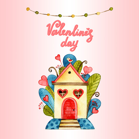 Greeting card with love theme heaving love birds, hanging wooden hut on tree branch, floral background for Valentine Day. Stock Photo