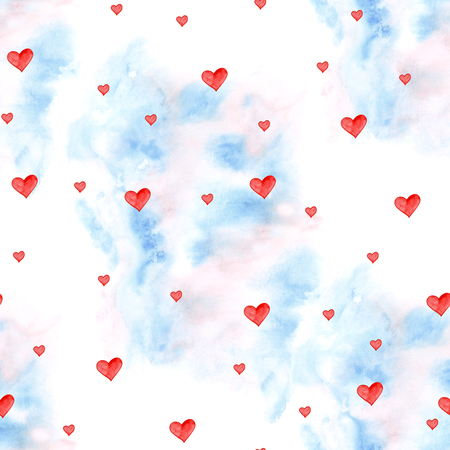 Stylish seamless pattern with watercolor hearts. Valentine elements. Love illustration