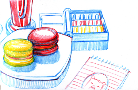 Still life-artists Breakfast drawing in sketchbook. Attributes - a box of paints, sketchbook, cakes macaroons, drink