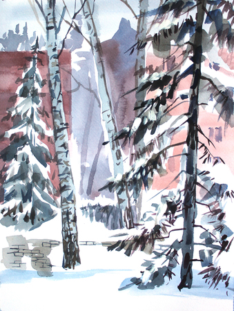 Winter landscape with trees in the city park. Sketch watercolor. Hand drawn illustration.
