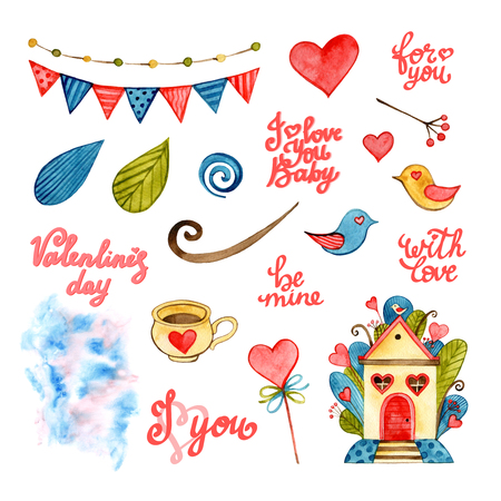Watercolor Valentine elements set. Lettering Home sweet home. Love, birds, coffee, hearts, garland, clouds, leaves.