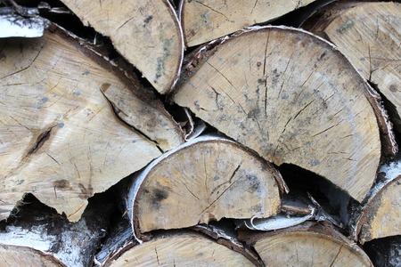 view of a stack wood for heat season. Birch logger Standard-Bild