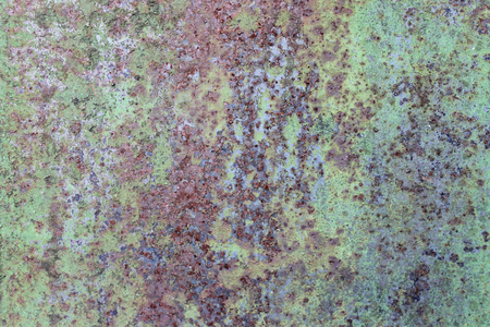 Old dirty metal rust wall, green grunge background