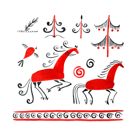 Watercolor illustration of a traditional painting with deer Mezen. Horses set