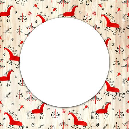Circular pattern with decorative elements of cosmogonic traditional folk art. Mezensky horse. Illustration Reklamní fotografie