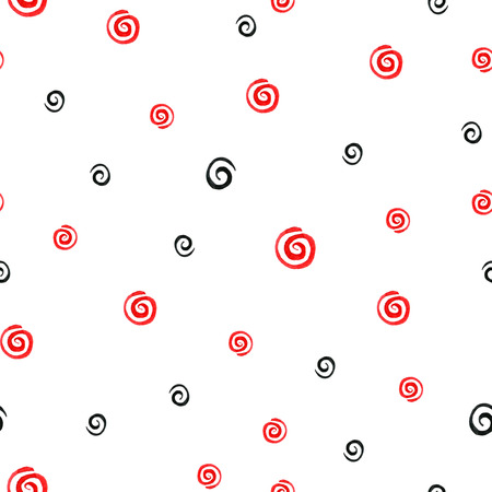 Abstract seamless pattern with swirling brush strokes in bright and contrasting colors red, white and black. Stock Photo