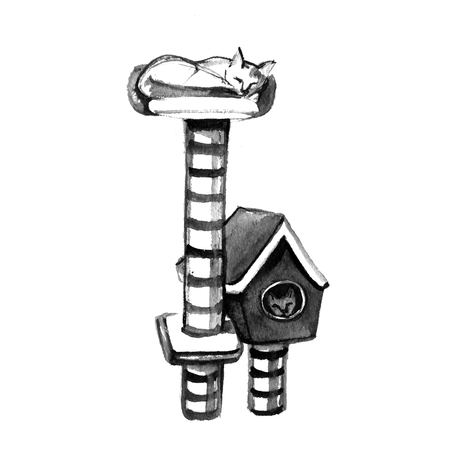 Jungle gym for cats with cat house and scratching post. Isolated pet supply. Realistic ink illustration of cat furniture on white background. Watercolor illustration Stock Photo