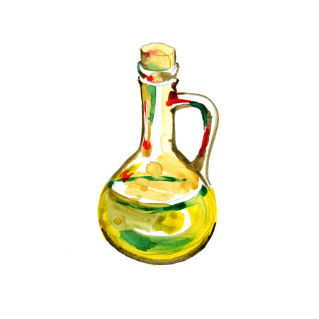 Olive bottle illustration. Hand drawn watercolor painting on white background Stock Photo