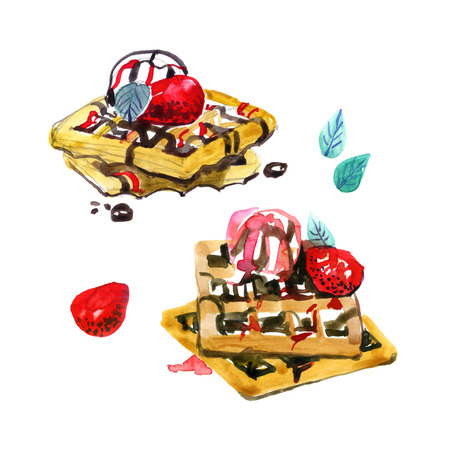 Belgian waffles with mint leaves, strawberries and ice cream balls are poured with strawberry and chocolate syrup. Hand drawing. Sweet illustration with watercolor.