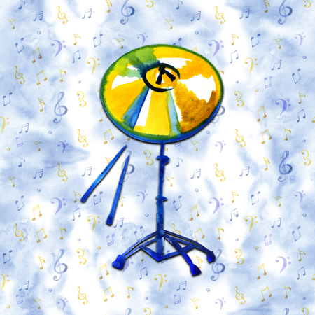 Musical Instrument. Watercolor Golden Cymbal. Isolated on a blue