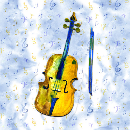 watercolor sketch illustration of a violin. Cello on blue background