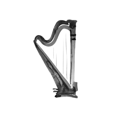 Harp. Watercolor illustration. Hand drawn of classical music instrument. Black on white background Foto de archivo