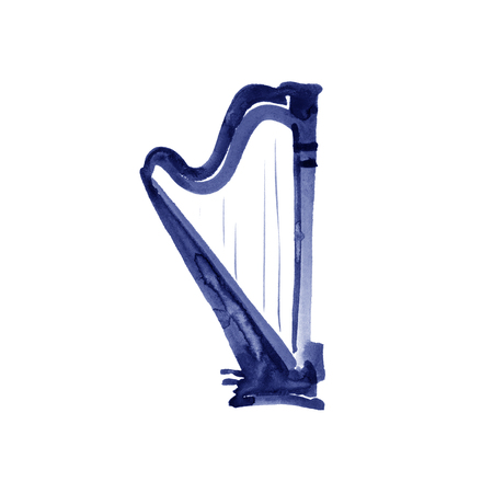 Harp. Watercolor illustration. Hand drawn of classical music instrument