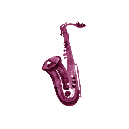 Watercolor copper brass band saxophone on white background. Maroon, burgundy, claret, vinous, purple