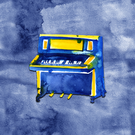 Piano. Musical instruments. Isolated on blue background. Watercolor illustration