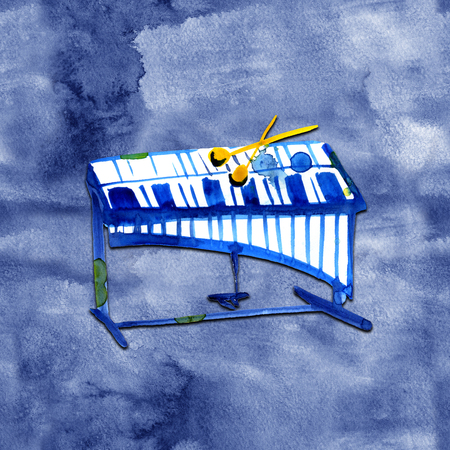 watercolor sketch of xylophone on blue background