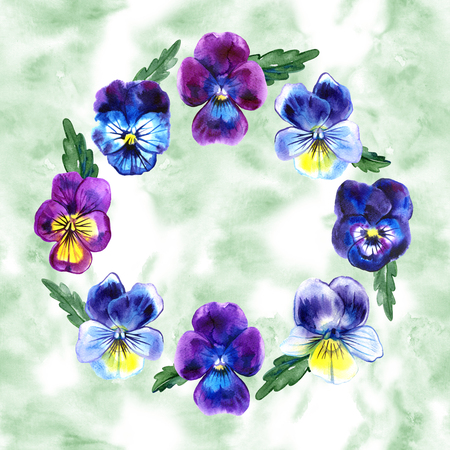bouquet of violas pansy flowers on green background watercolor