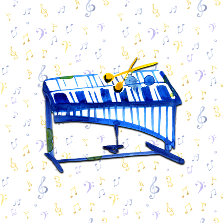 watercolor sketch of xylophone on notes background