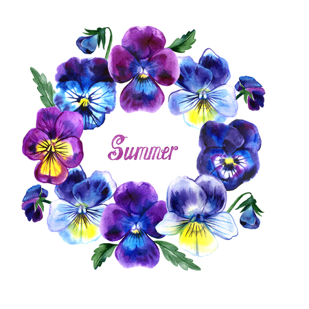 Round frame pansies watercolor with summer lettering on white background Фото со стока