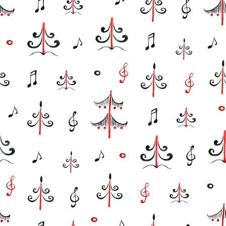 Composition With Music Note Symbols And Pine Firs Forest Stock Photo