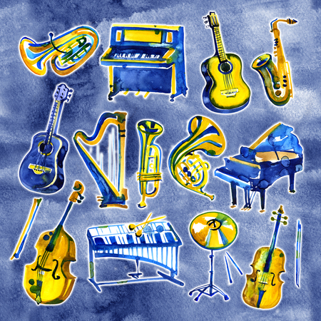 Set of hand draw watercolor musical instruments on blue background Banque d'images - 101258579