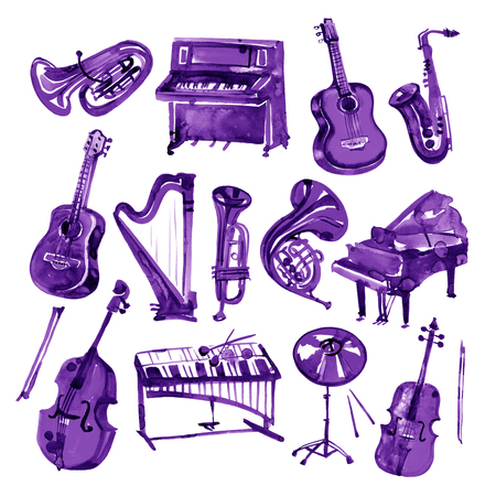 Set of hand draw violet watercolor musical instruments Banque d'images - 101415921