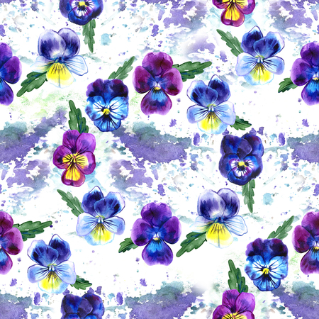 Watercolor illustration of Violet flowers. Seamless pattern. Watercolor Pansies. background of beautiful watercolor pansy. Фото со стока