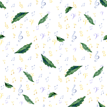 Seamless pattern with pansy leaves. Watercolor illustration Archivio Fotografico