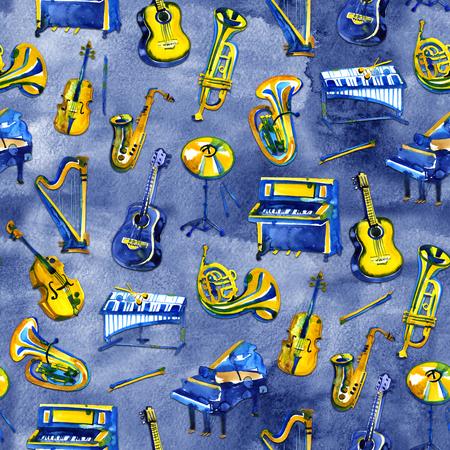 Background musical instruments. Seamless pattern. Watercolor illustration Zdjęcie Seryjne