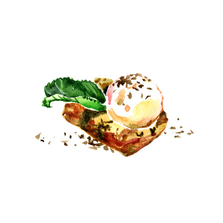 Brownie with ice cream, watercolor paiting. Sweet illustration